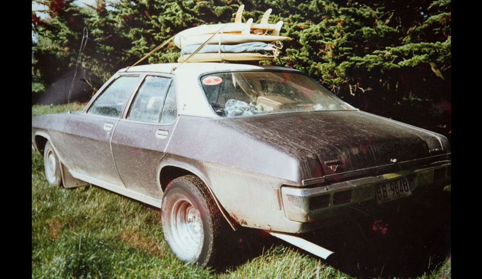 """This is one of the coolest most practical Aussie surf beast I\'ve ever seen. My mate \""""Wire\"""" took a mid \'70s Holden Premier and put a massive V8 engine in it along with some big old fats on the back.  He reckons that thing went anywhere a 4WD would go.  Photo: Artirs Innes"""