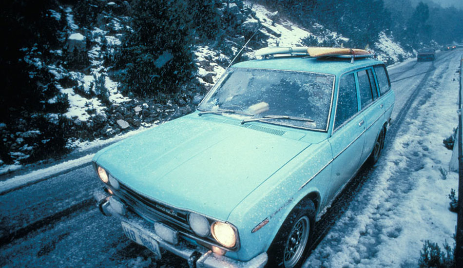 """This is my trusty old 1970 Datsun 1600 station Wagon which used to take me everywhere on my Tasmanian surf missions, even when it was snowing. Photo: <a href=\""""http://seandavey.com/\"""" target=_blank>Sean Davey</a>"""