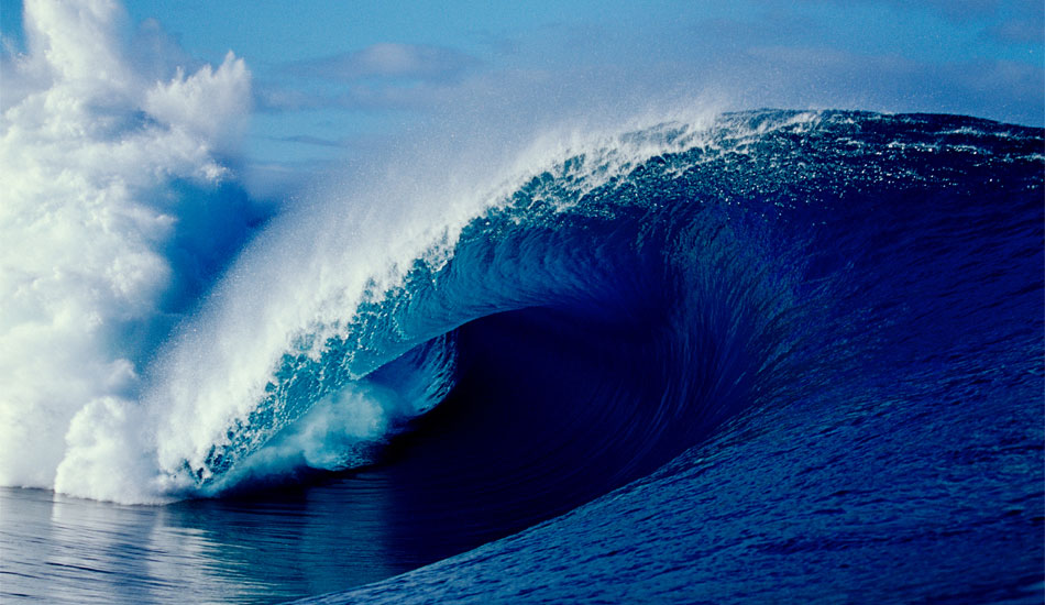 """THE PERFECT WAVE - TEAHUPOO, TAHITI. What to say about this perfect wave? This empty wave was the wave of the day, jaw dropping and unridden. Photo: <a href=\""""http://www.bluespherephotography.com\"""">Shelli Bankier</a>"""