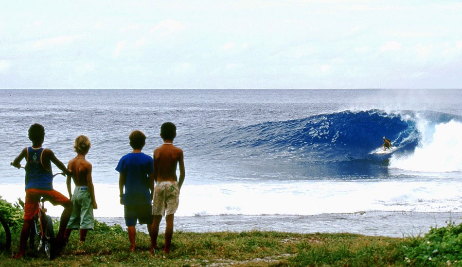 """CURIOUS KIDS - SECRET SPOT TAHITI. This place is secret on pain of death: a weird wave that appears out of almost nothing, jacks up as the water hits the reef, and then fades away again. Photo: <a href=\""""http://www.bluespherephotography.com\"""">Shelli Bankier</a>"""