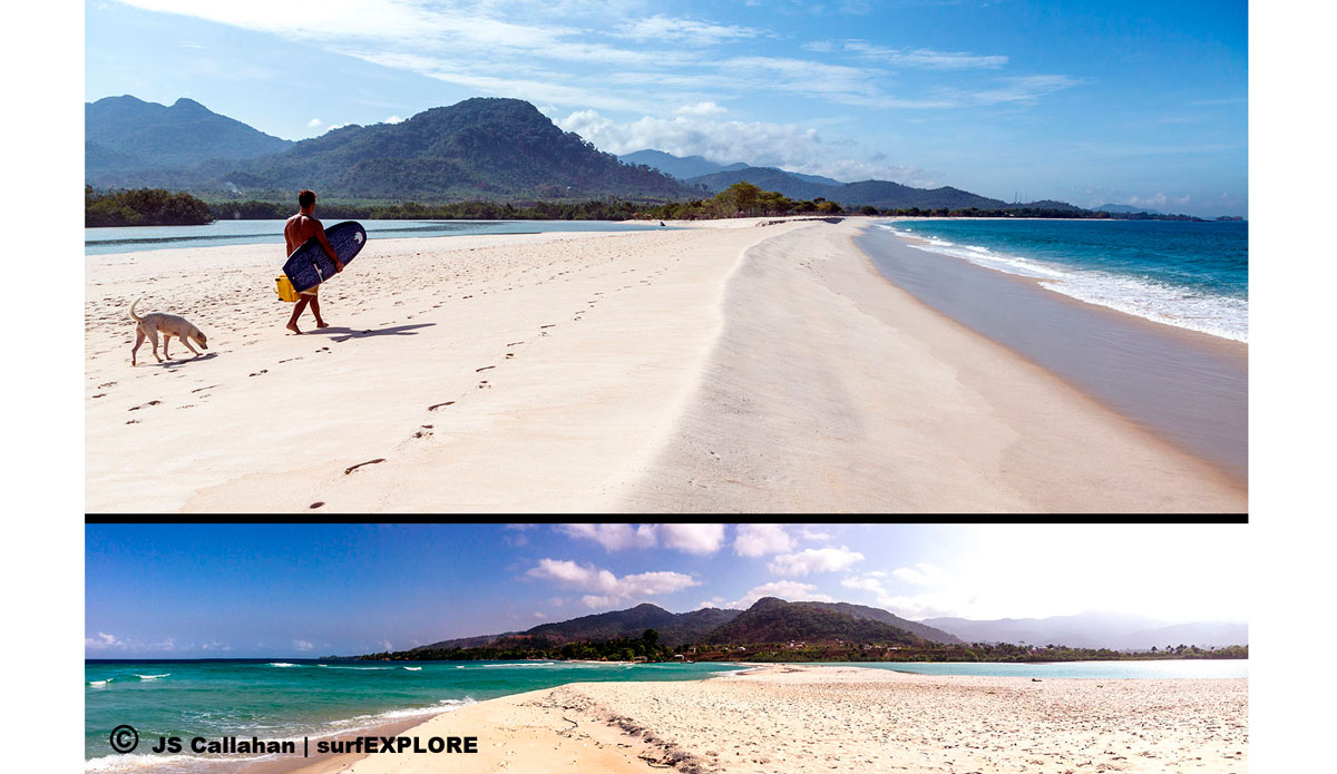 """Emiliano Cataldi walking on the stunning white sand beach at River Number 2, one of the best beaches in Africa with a great sandbar that can be a perfect right or a perfect left. Photo: <a href=\""""http://surfexplore.info/\"""">surfEXPLORE</a>/John Seaton Callahan"""