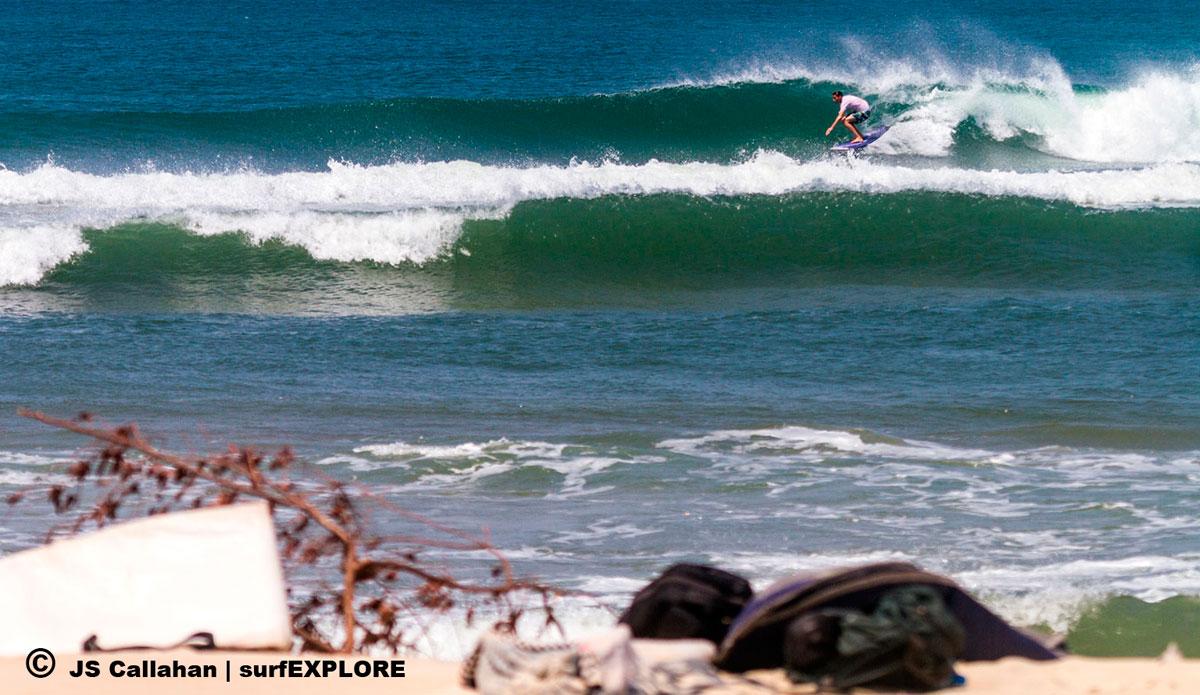 "Sam Bleakley at the sandbar righthander that works with the dry season northwest wind. Photo: <a href=\""http://surfexplore.info/\"">surfEXPLORE</a>/John Seaton Callahan"