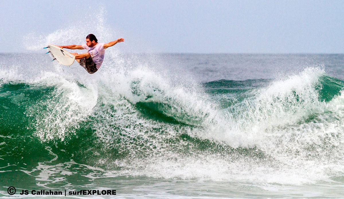 """Erwan Simon launching at the sandbar right without hesitation as it\'s all sand here, no rocks or reef. Photo: <a href=\""""http://surfexplore.info/\"""">surfEXPLORE</a>/John Seaton Callahan"""