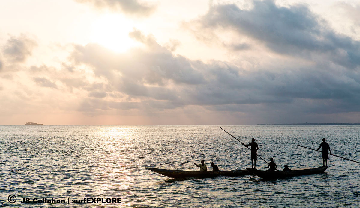 """Morning traffic in the Turtle Islands; where there are no vehicles, only traditional dugout canoes. Photo: <a href=\""""http://surfexplore.info/\"""">surfEXPLORE</a>/John Seaton Callahan"""