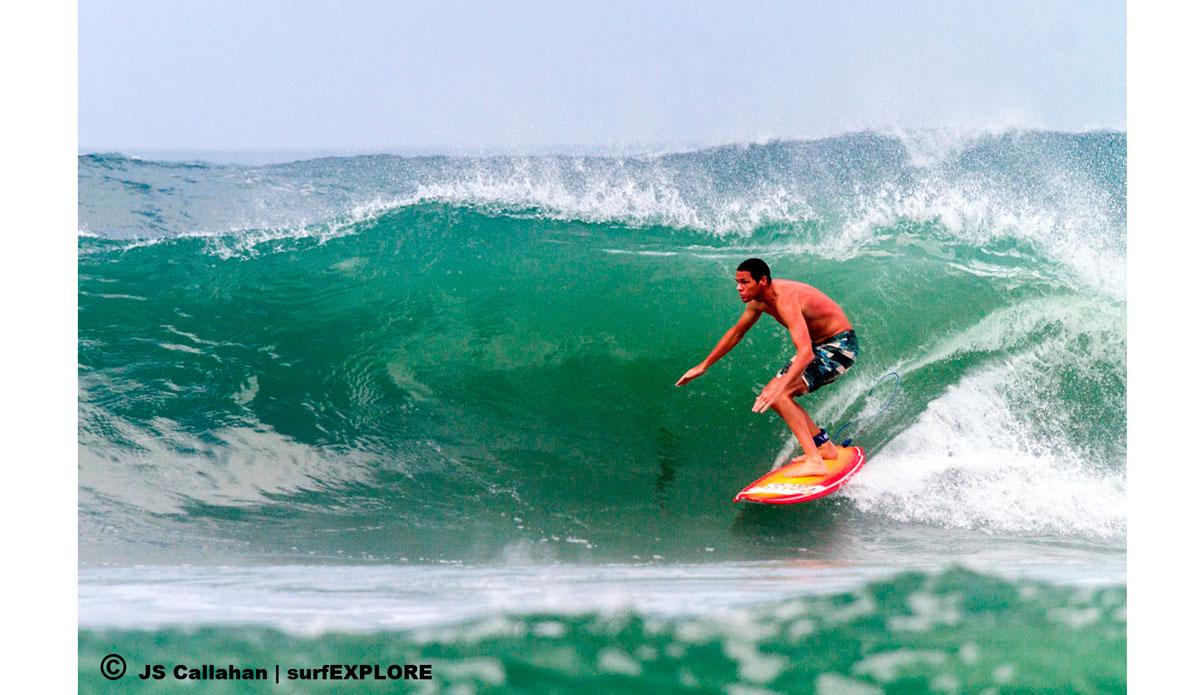 "Sam Bleakley entering the inside low tide section at the sandbar right. Photo: <a href=\""http://surfexplore.info/\"">surfEXPLORE</a>/John Seaton Callahan"