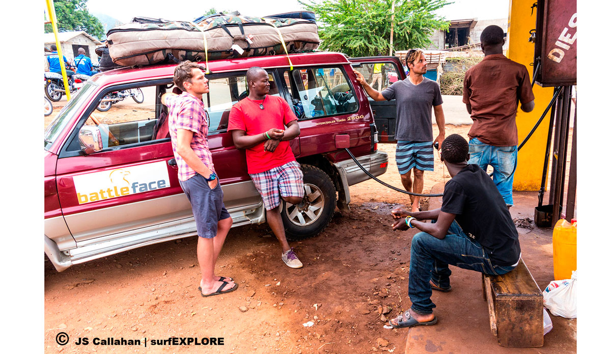 """A petrol station south of Freetown, with an old-school manual hand pump. The attendant counts the English gallons with pebbles. Photo: <a href=\""""http://surfexplore.info/\"""">surfEXPLORE</a>/John Seaton Callahan"""