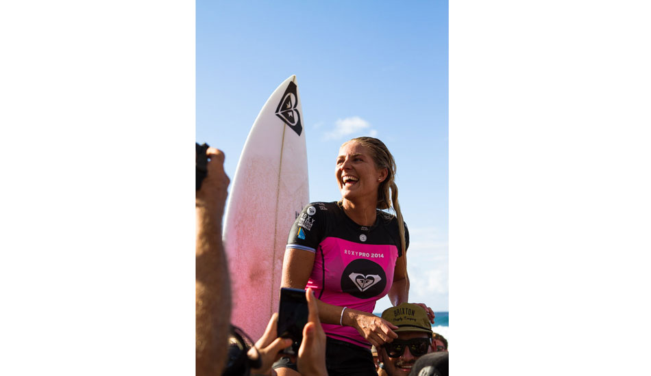"An elated Stephanie Gilmore after her winning heat. Photo: <a href=""http://instagram.com/jamesboothphoto\"">James Booth</a>/<a href=\""http://instagram.com/charliehardy\"">Charlie Hardy</a>"