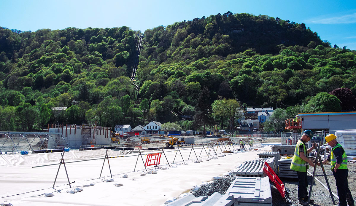 Pipes visible from the nearby hillside will feed rainwater into the lagoon. Photo: Surf Snowdonia