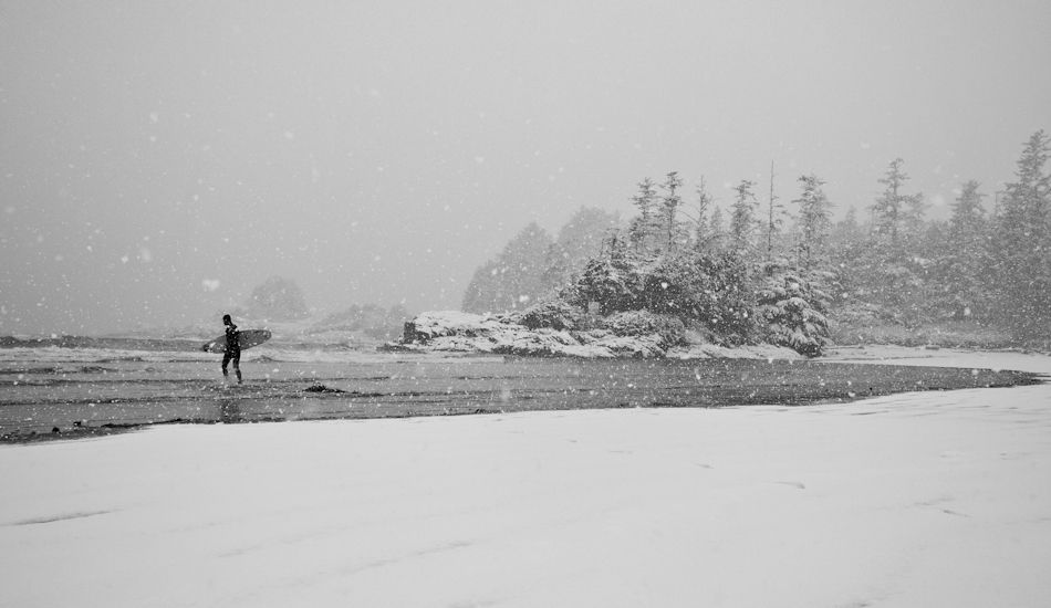 "In Tofino, we have a few really snowy days during the year. This is Raph Bruhwiler at one of the local beaches. Photo: <a href=""http://www.jeremykoreski.com/\"" target=_blank>Jeremy Koreski</a>"