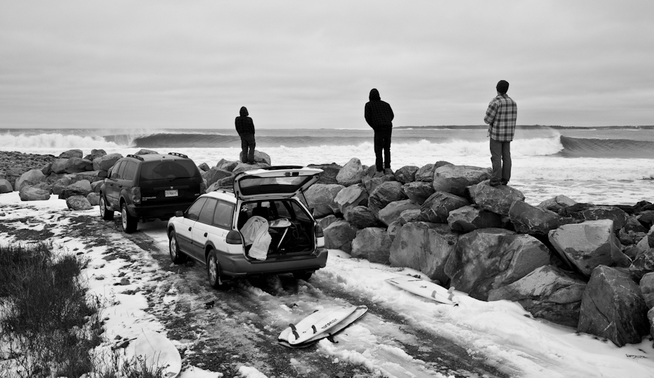 "I took this lineup shot on the East Coast of Canada a couple of years ago. This was a tough morning for me. After a redeye flight from Vancouver with 3 hours of sleep, I jumped in a rental car and met Nico Manos at 7am at this spot. The water was hovering around 32F, and as I was scrambling down the rocks, a set came and sent me around a jetty on the inside. I pulled myself out and walked up to the point for another try. Shooting in the water this day was one of the coldest days of my life. Photo: <a href=""http://www.jeremykoreski.com/\"" target=_blank>Jeremy Koreski</a>"