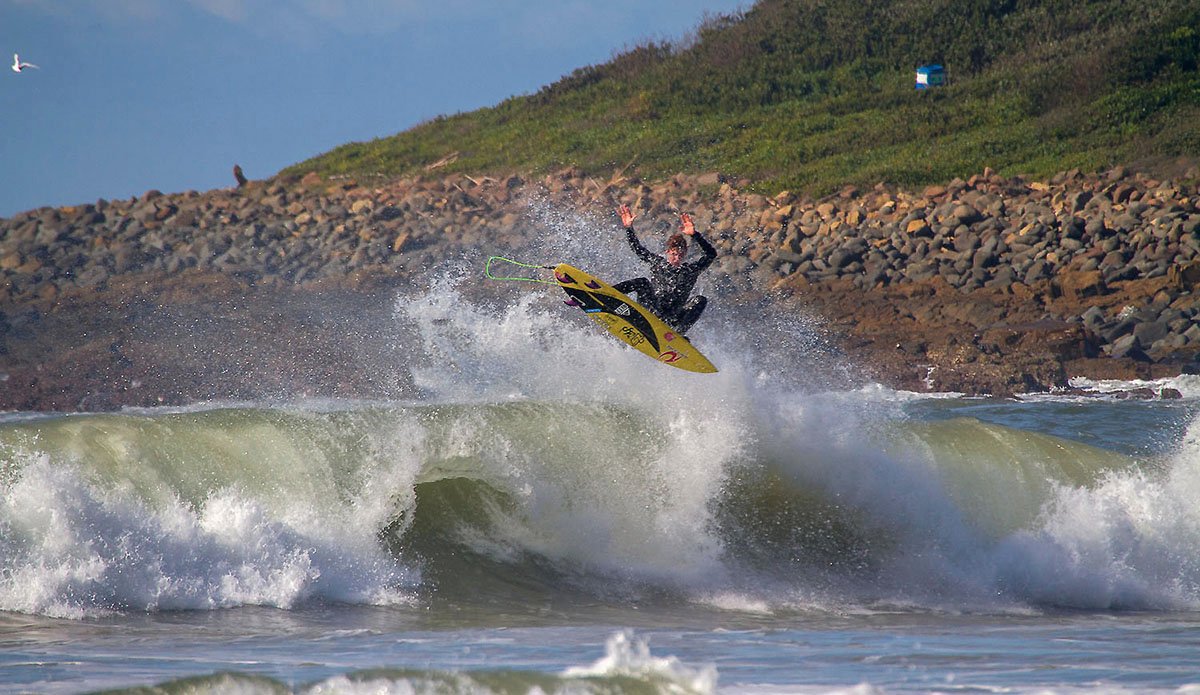 "Michael monk flaring on the end section of a river mouth wave. Photo: <a href=""https://www.facebook.com/pages/Pho-Tye-Studio/398591356893177?fref=nf\""> Tyerell Jordaan</a>"