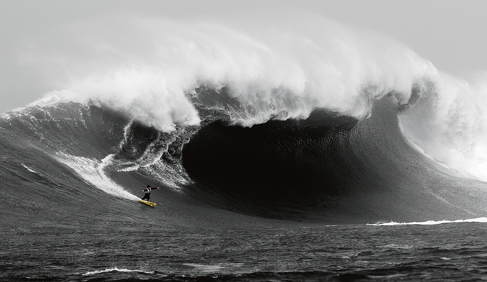 """Mavericks: The site of both epic success and tragedy, this wave is without a doubt one of the spookiest. Zach Wormhoudt towing into a beast during the February 2005 Ghost Trees swell. Photo: <a href=\""""http://instagram.com/migdailphoto\""""> Seth Migdail</a>"""