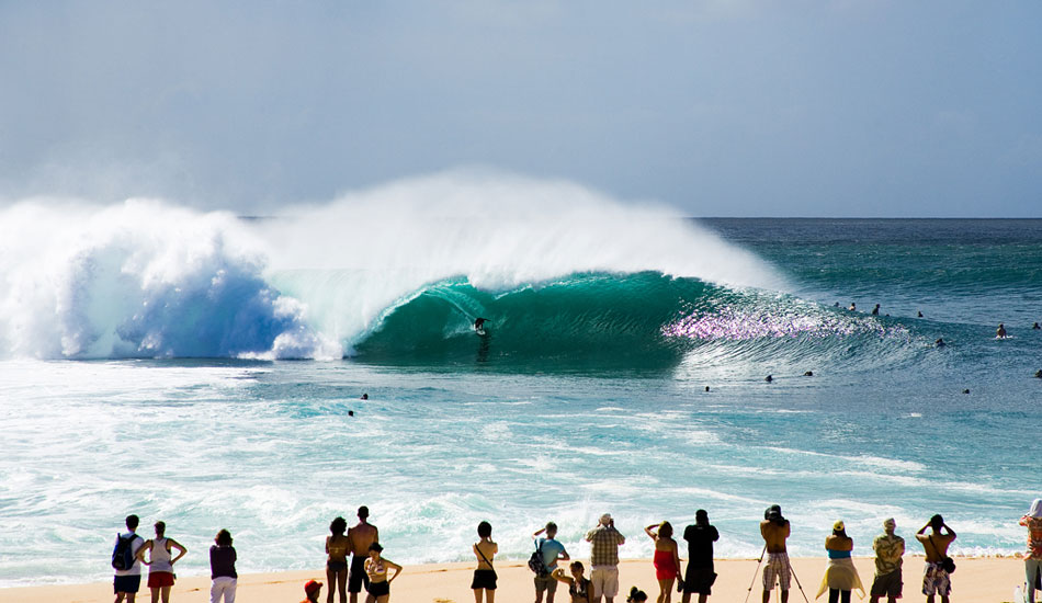 """Pipeline: Everyone knows Pipe. Throughout the years, the Banzai Pipeline has probably been the site of more tragedy than any other wave in the world. In 2004 and 2005, Japan\'s Moto Watanabe and Tahitian Malik Joyeux lost their lives there, and there have been countless injuries. <a href=\""""http://www.ruddyphoto.com\"""" target=_blank>RuddyPhoto.com</a>"""