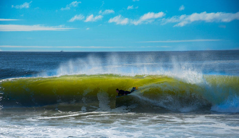 Sometimes bodyboarders get the best of some days... Photo: Stephen Krawiec
