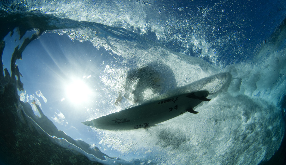 """This is a shot from Tahiti in 2010. Brett Simpson flying overhead. Image: <a href=\""""http://www.vincestreet.com\"""" target=\""""_blank\"""">Street</a>"""