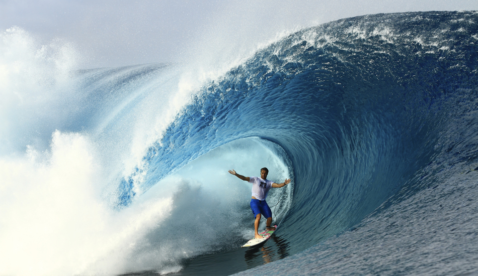 """One of the best barrel riders on the planet and an amazingly nice guy….Anthony Walsh at Teahupoo. Image: <a href=\""""http://www.vincestreet.com\"""" target=\""""_blank\"""">Street</a>"""