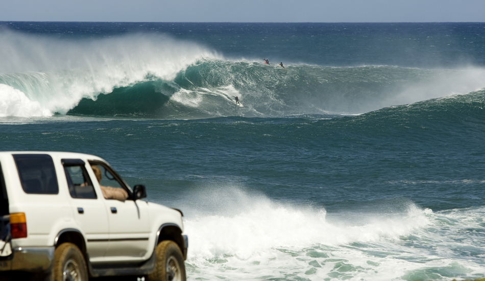 """A couple years ago I got a phone call from a friend and all that was said was \""""get over here\"""". This wave breaks once every 15 years or so and Ikaika Kalama and friends SCORED in the South Pacific! Image: <a href=\""""http://www.vincestreet.com\"""" target=\""""_blank\"""">Street</a>"""