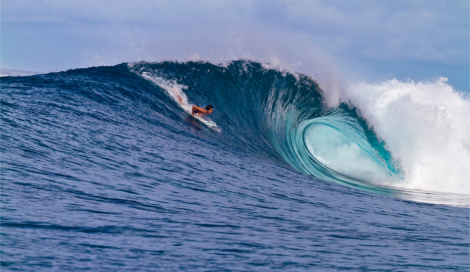 "Indonesia. Phil Goodrich strokes into a thick one in Pacific Indonesia. This spot was a fun right at three feet, long and fast. The outside section transformed into a beast at six feet, throwing heavy Pacific-power barrels onto a shallow reef far out at sea. Image: <a href=""www.tropicalpix.com\"" target=\""_blank\"">Callahan</a>/<a href=\""http://www.facebook.com/pages/SurfEXPLORE/153813754645965\"" target=\""_blank\"">surfEXPLORE</a>"