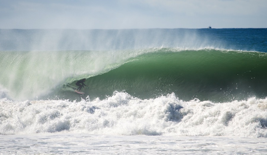 Traveling charger Tom Lowe got absolutely blasted out of this wave. Portugal doing its damn best Pipeline impersonation. Supertubos, Portugal. 3/4/17. Photographer: Monica Santos