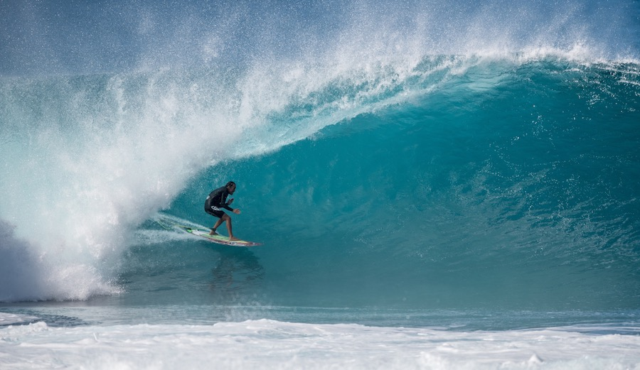 Does it get any more classic than this? Derek Ho hand-jiving his way through what is almost certainly the wave of the day. Pipeline. 1/26/17. Photographer: Pedro Miranda.