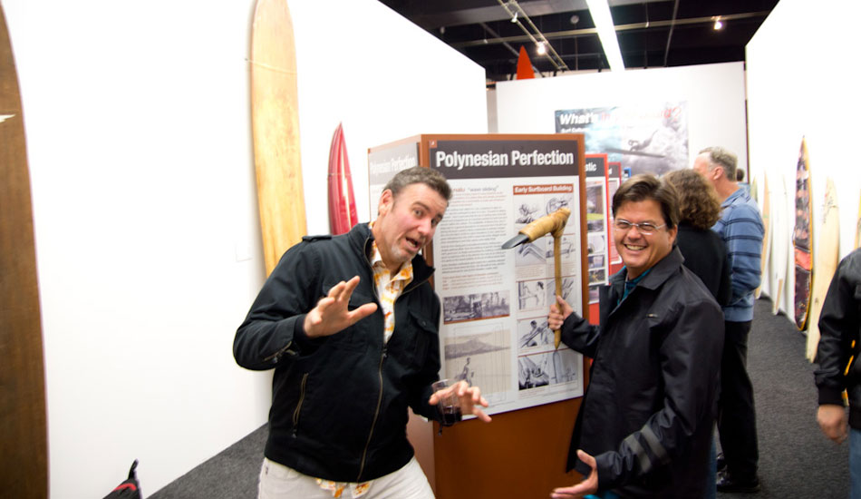 Timmy Patterson and Matt Biolos test out the original surfboard shaping tool: a Polynesian adze.