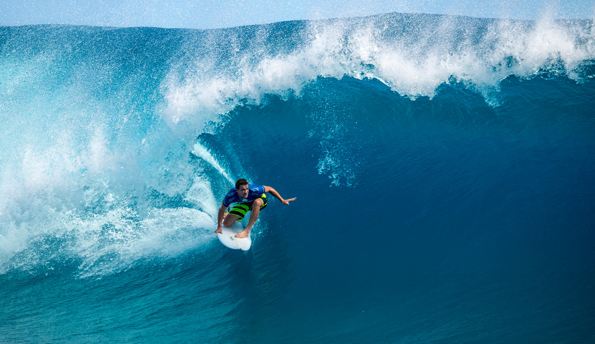 Brett Simpson, channeling Huntington Beach...or not...in his victory over Parko at making Teahupoo. Photo: ASP