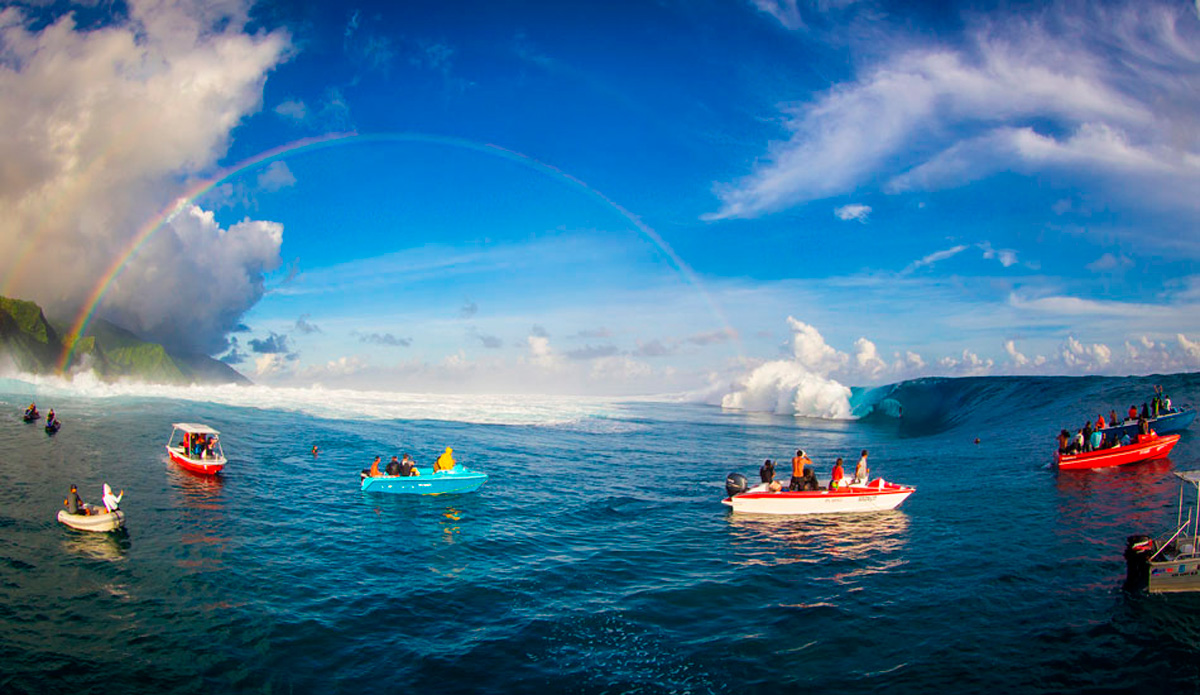 "One of my favorite shots from Teahupoo. Just the atmosphere. May 14th, 2013. Photo: <a href=""http://benthouard.com/\"" target=_blank>Ben Thouard</a>."