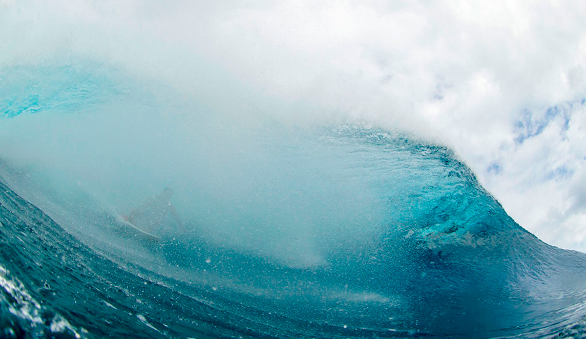 "Billy Kemper getting spat on half way through a big second reef, Teahupoo bender. This is nowhere near the exit and that means Billy is going to have to negotiate the warping west bowl blind. Photo: <a href=""http://sethderoulet.com/\"" target=_blank>Seth de Roulet</a>"