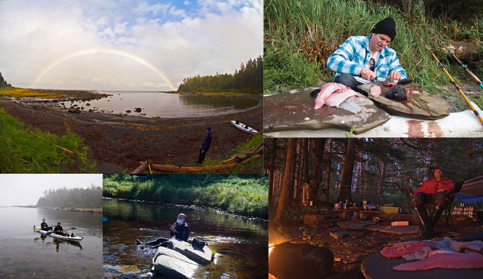 Canada. Camp life revolved around fishing, collecting wood and waiting for surf.
