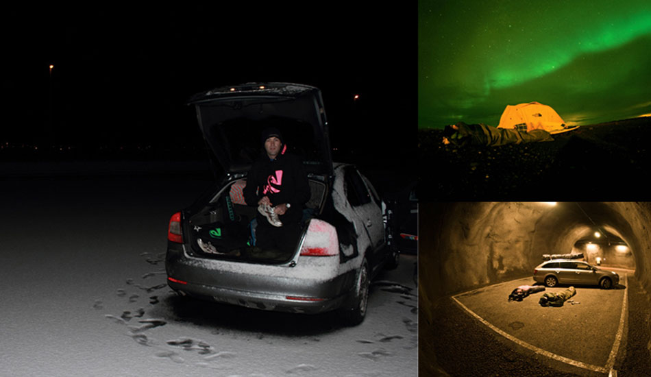 Ian getting up for the dawny, if you can call it a dawny, at 10.30am. Mid winter in Iceland first light is around 11. If it\'s cloudy and wet, which is common, it doesn\'t get properly light at all. Sleeping in the hire car is a great option when the ground is too iced over for the tent pegs, so is sleeping in a pull over spot in a tunnel, as Ian and Timmy Turner found out.