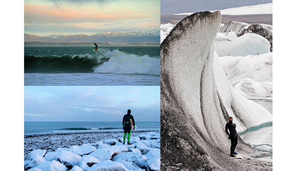Even in a thick wetsuit, Ian finds the flexibility to boost. Timmy and the frozen wave.