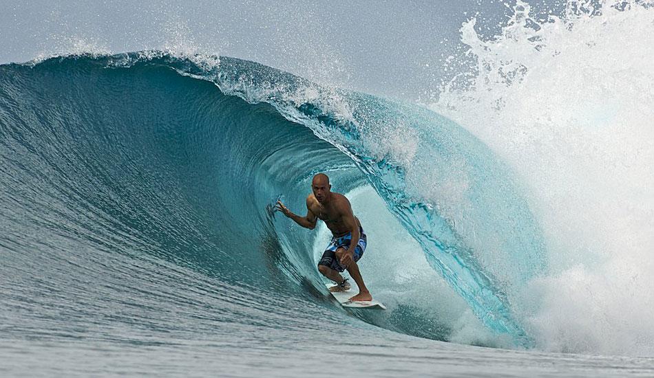 "Kelly Slater slotting into a secret spot in French Polynesia. Photo: <a href=\""http://www.timmckennaphoto.com/\"" target=_blank>Tim McKenna</a>."