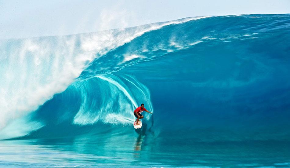 "Raimana speed blur at Teahupoo. Photo: <a href=\""http://www.timmckennaphoto.com/\"" target=_blank>Tim McKenna</a>."