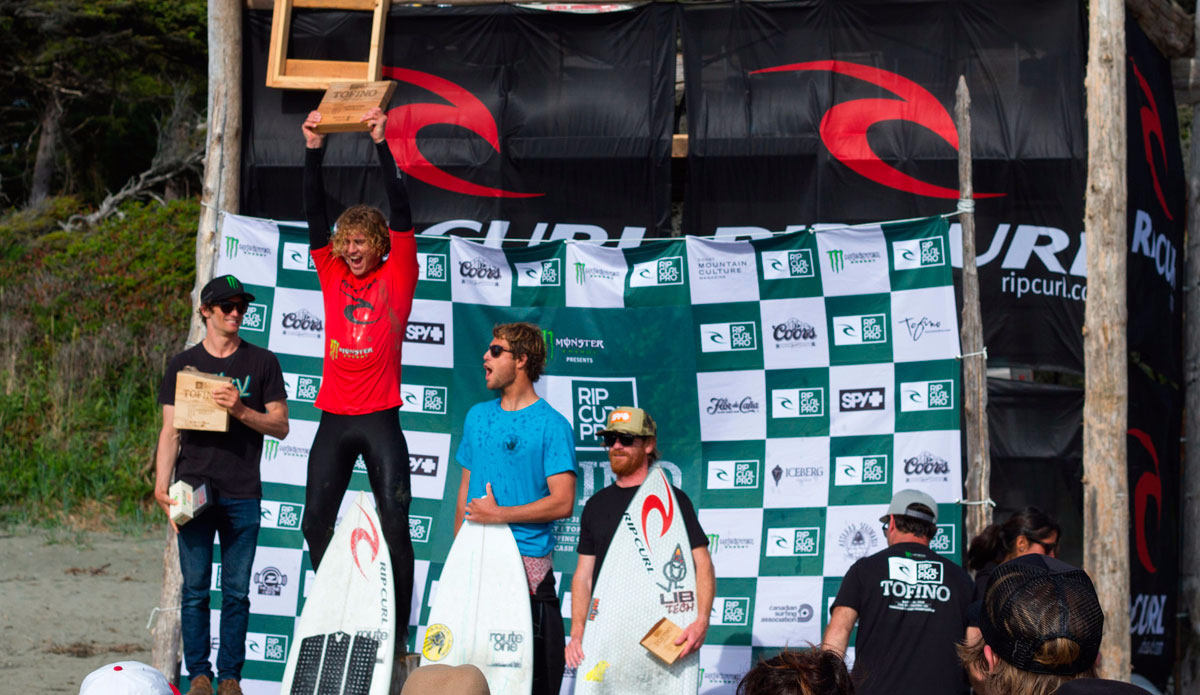 "Mens Pro podium with Noah Wegrich, Pete Devries, Dane Anderson and Ben Murphy. Photo: Lucas Murnaghan/<a href=""http://surfthegreats.org/\"">Surf The Greats</a>"