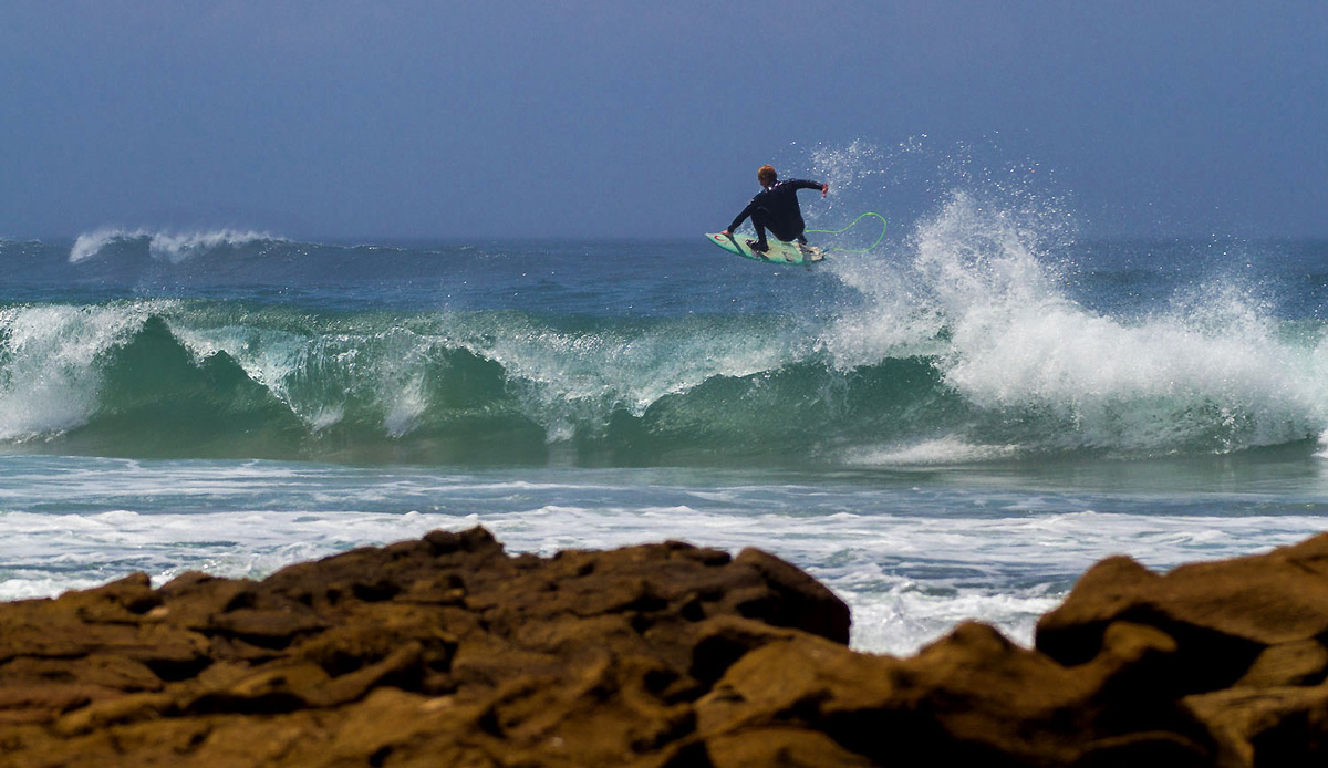 A big old slob into the wind, Michael Monk\'s summer jump. Photo by: Tyerell Jordaan