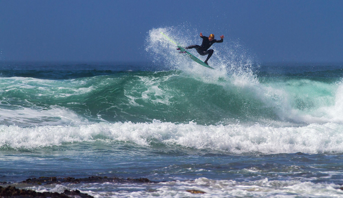 I\'ve seen Michael go through three boards this week throwing these full rotations into the flats, he is sticking a good percentage too. The joys of summer onshores. Photo by: Tyerell Jordaan