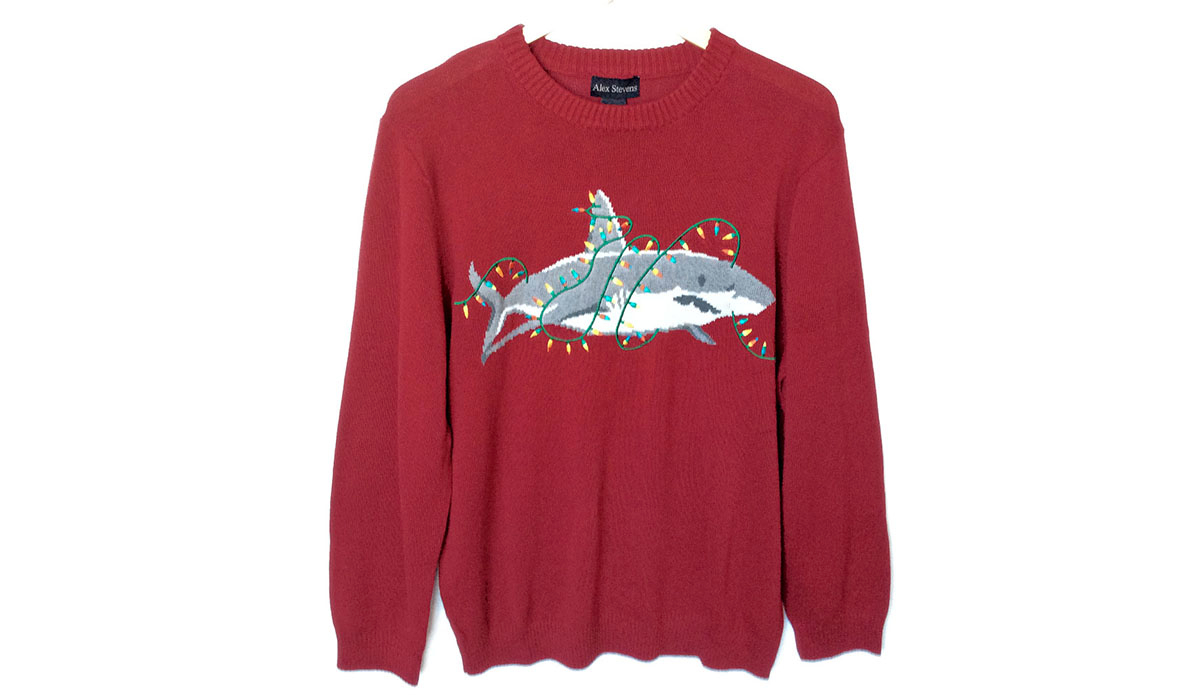 "<a href=""http://theuglysweatershop.com/shop/ugly-christmas-sweaters-have-jumped-the-shark-alex-stevens-mens/\"">The Ugly Sweater Shop</a>"