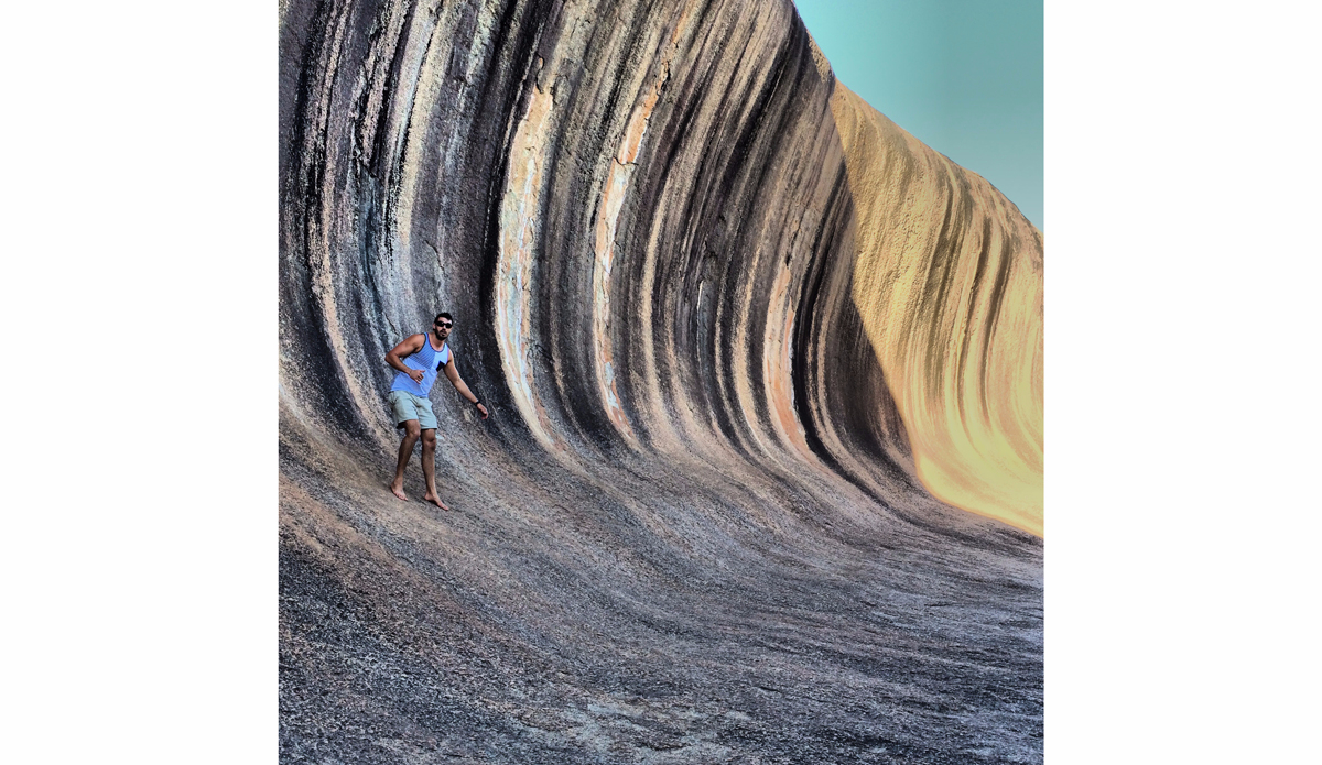 "This trip to Australia was RAD. We explored as much as we could in the short time we had there. Here\'s a shot from the Wave Rock. About to get barreled by this 50ft monster! Photo: <a href=""https://instagram.com/M_Ivo\"">@M_Ivo</a>"