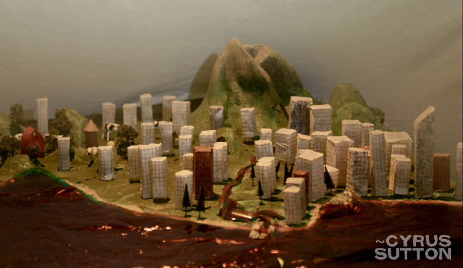 """This is a still from a stop motion animation recorded in an art studio deep in San Pedro, CA. We spent days making the buildings and landscape from paper-mache and it was fun setting it all up with professional lights and making it come to life one frame at a time. Photo: <a href=\""""http://www.korduroy.tv\"""" target=_blank>Cyrus Sutton</a>."""
