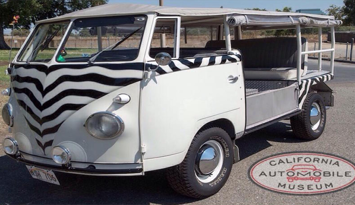 1957 VW Da-Kind Coach Works 'Z-Bus' Safari with a 4 cylinder engine and manual transmission. Exterior color is a white and zebra design and the interior color is grey.