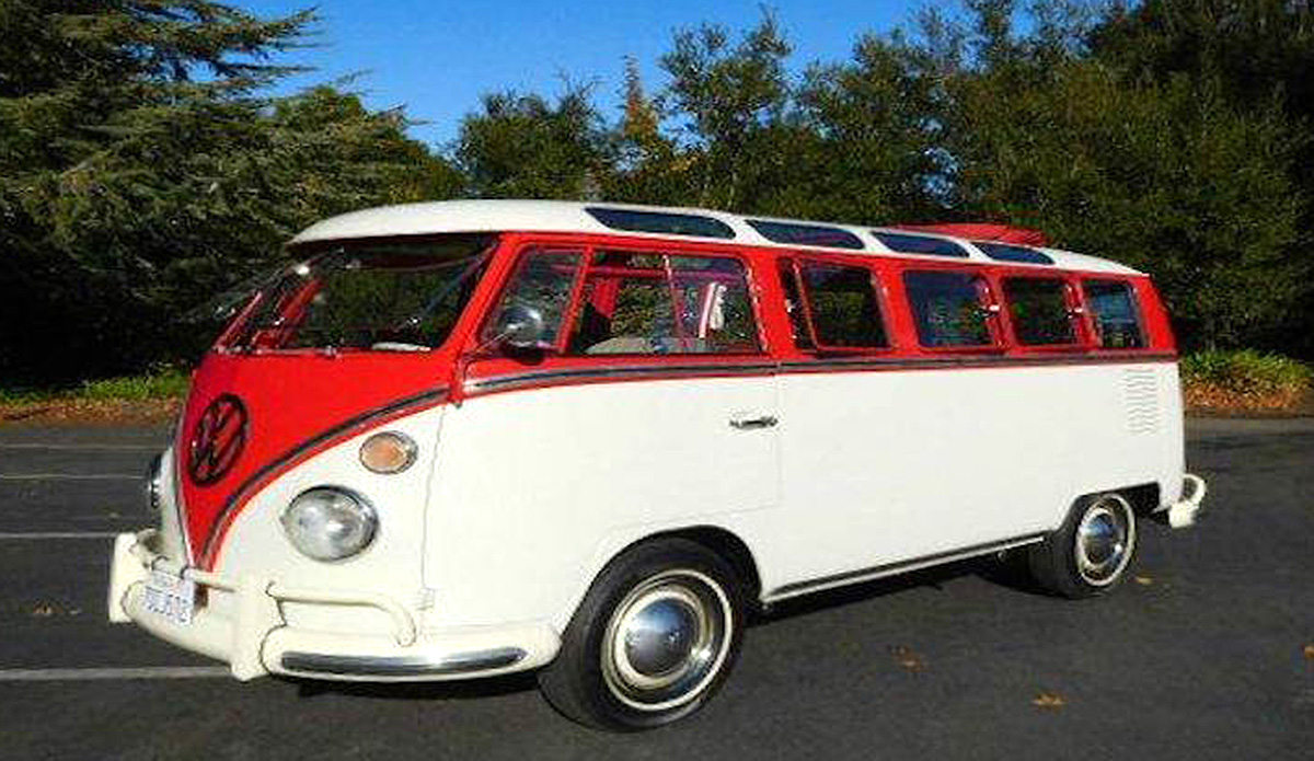 1966 VW Bus 21 window with a new 1600cc motor, 4 cylinder engine and manual transmission. Exterior color is red and the interior color is grey.