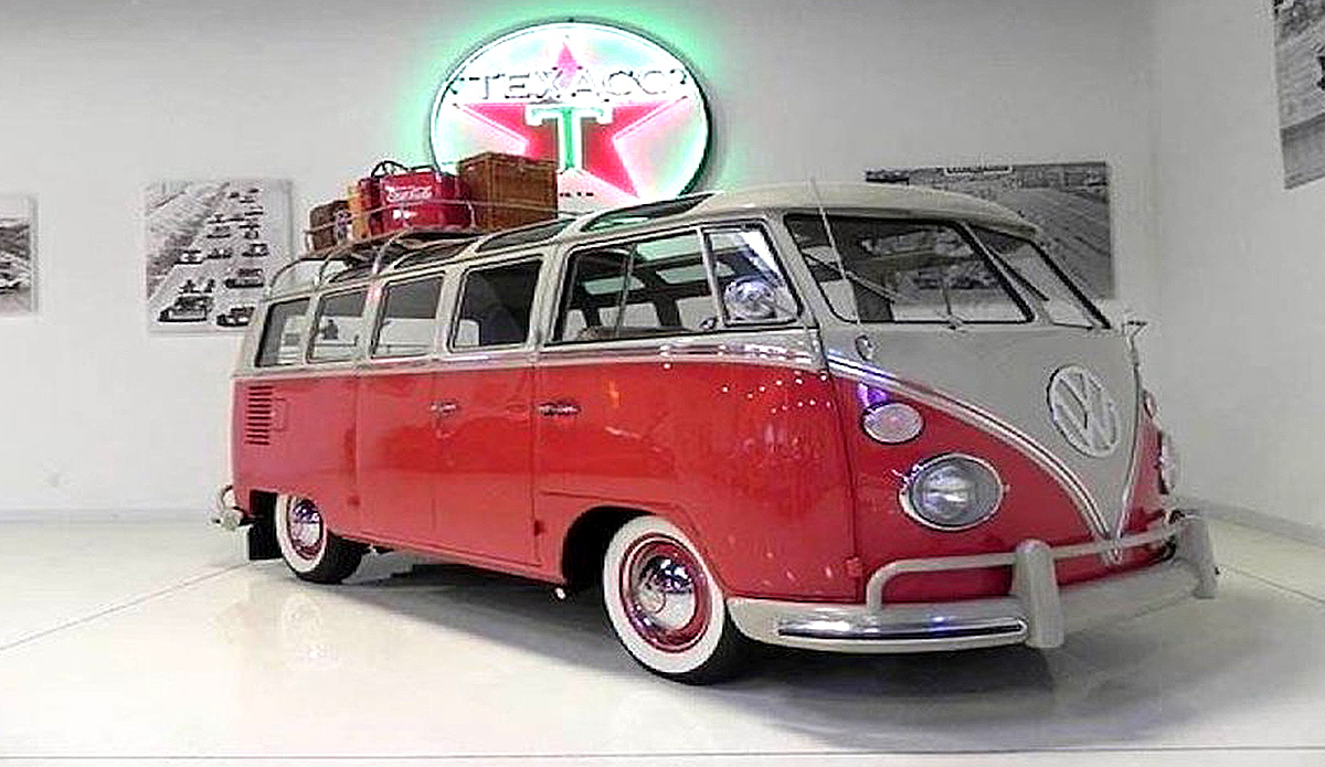 1965 VW Samba Bus with a 4 cylinder engine, manual transmission, 1600cc engine, red exterior color and tan interior color.