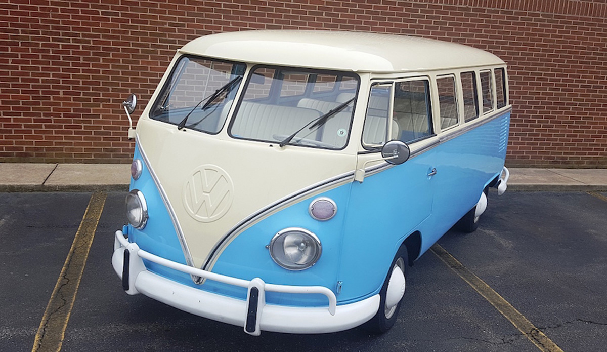 1974 VW Bus with a 4 cylinder engine and manual transmission. Exterior color is blue and interior color is white.