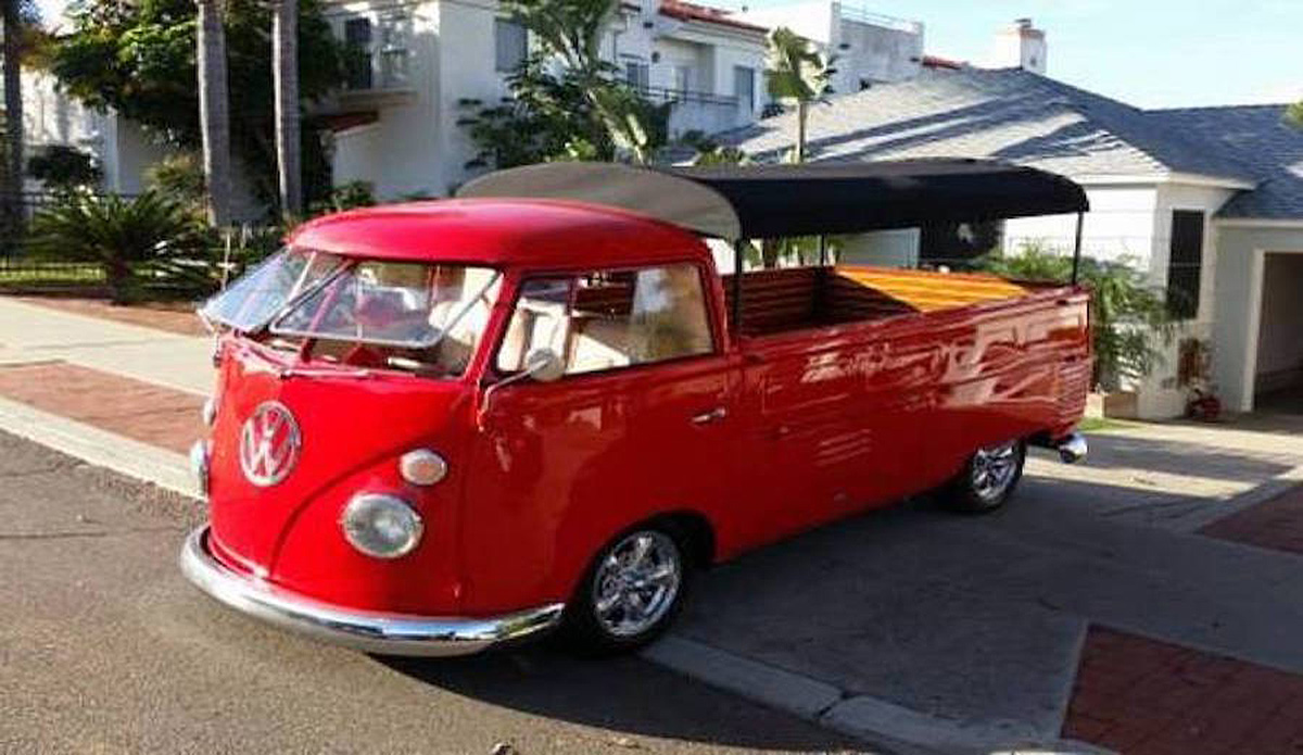 1962 VW Bus Transporter with a safari covered truck bed. 4 cylinder engine and manual transmission. Comes with a new 1914cc engine, tires, disc breaks, safari top and bluetooth. Exterior color is red.