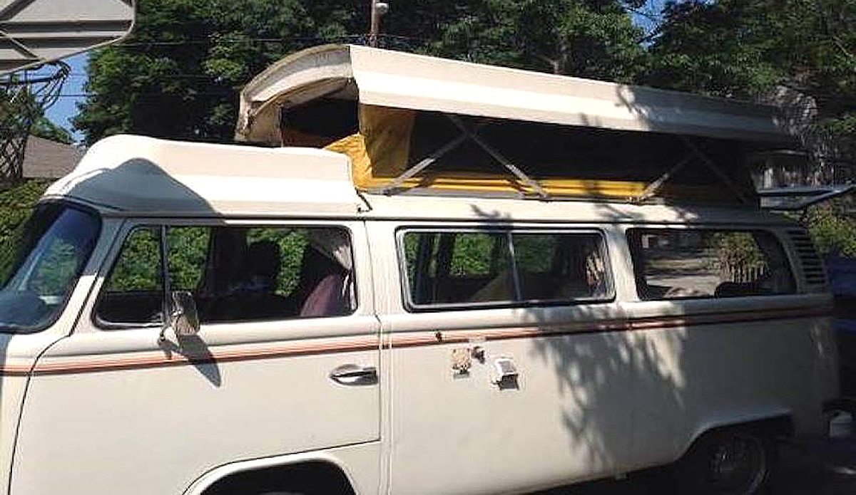 1977 VW Transporter Bus Type 2 with a 4 cylinder engine and manual transmission. Exterior color is white.