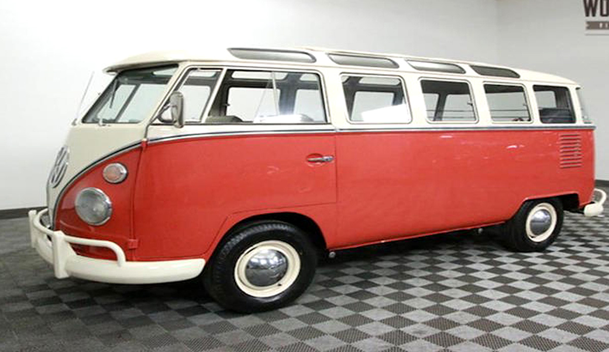 1963 VW Bus 23 Window with a 4 cylinder engine and manual transmission. Exterior color is red and the interior color is grey.