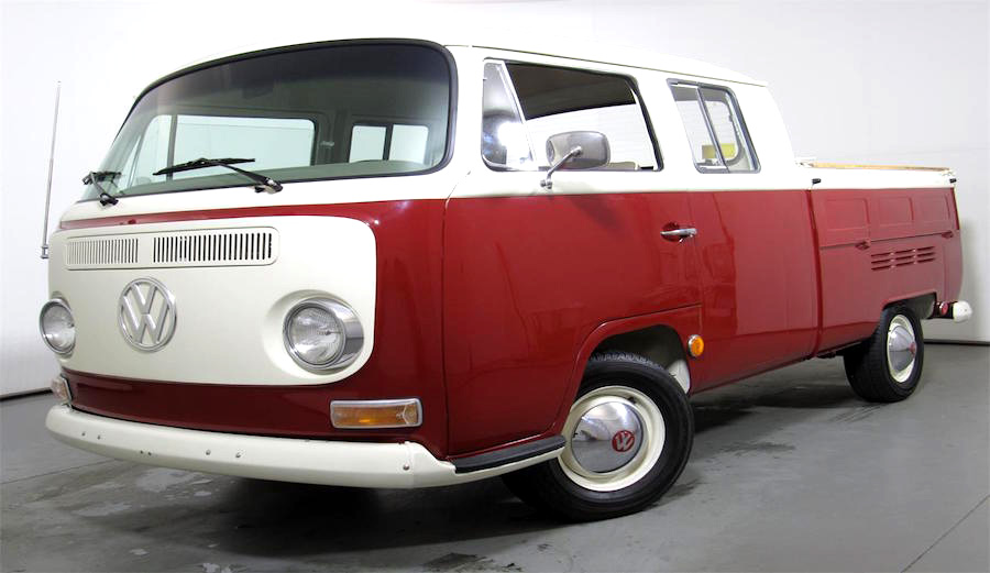 1969 VW Van Truck with a restored bay window double cab. Exterior color is burgundy.