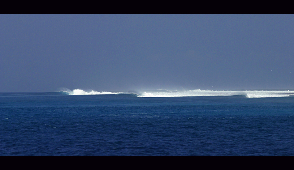 This is one of the better right reef points in the area, and on its day one of the best in Indo.  It works best with glassy conditions or winds opposite to those preferred for Nemberala Point. Image: Murphy