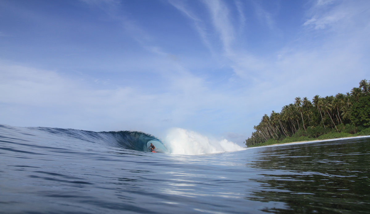 Tropical blue water, green trees and clear skies... and let\'s throw in some perfect barrels. Photo: Brian Blank