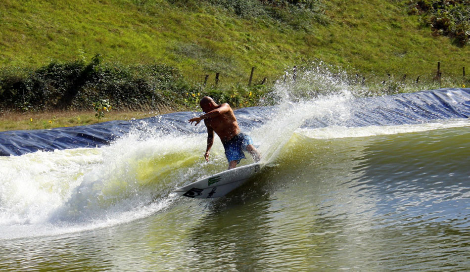 "According to the Wavegarden\'s creators, the sky is the limit when it comes to wave size. ""I have no idea [how big it can get],\"" says Josema Odriozola. \""Way too big for most surfers to be comfortable with.\"" Bobby Martinez tests the waters at the Wavegarden. Photo: Wavegarden"